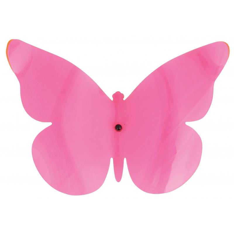 Muurdecoratie vlinder roze 25 cm