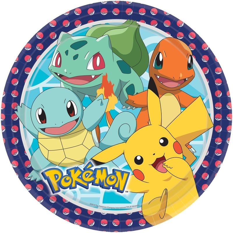 16x Pokemon themafeest eetbordjes 22,8 cm