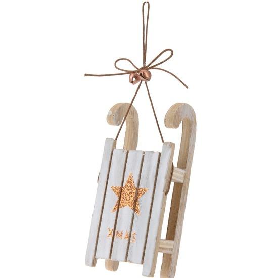 1x Houten slee bronzen ster 12 cm kerstversiering hangdecoratie