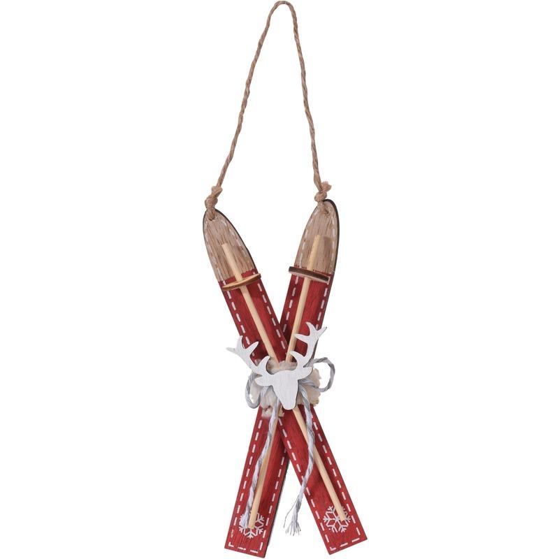1x Rode houten ski kerstversiering hangdecoratie 17 cm
