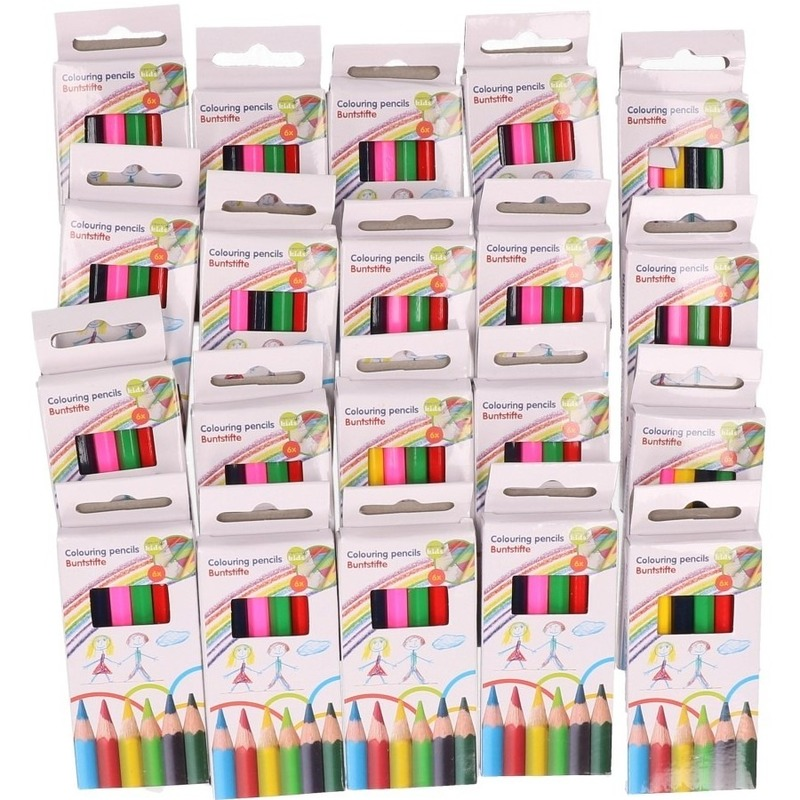 20 Pakjes mini kleurpotloden setje van 6 stuks
