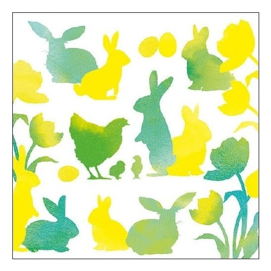 20x Pasen servetten geel-groen met dieren