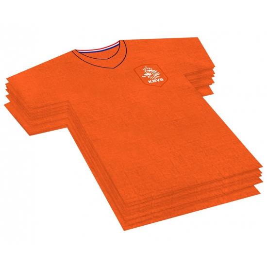 20x Voetbalshirt themafeest servetten oranje 16 x 15 cm papier