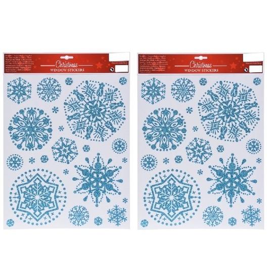 2x Kerst raamstickers-raamdecoratie sneeuwvlok plaatjes