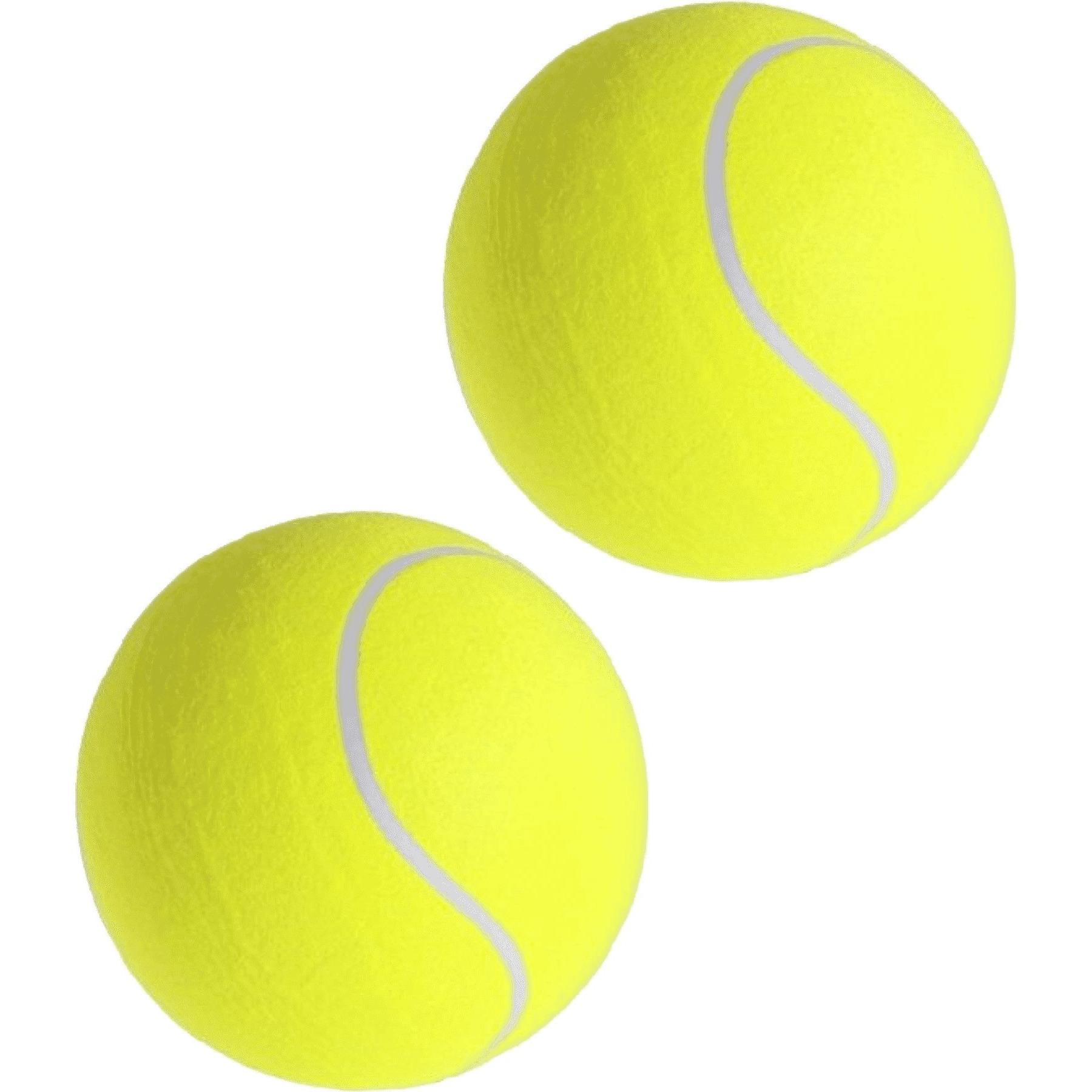 2x Mega tennisballen XXL geel 22 cm speelgoed-sportartikelen