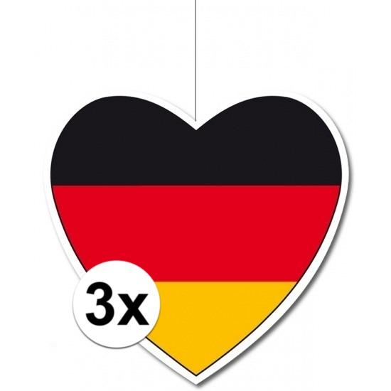 3x Duitsland hangdecoratie harten 14 cm