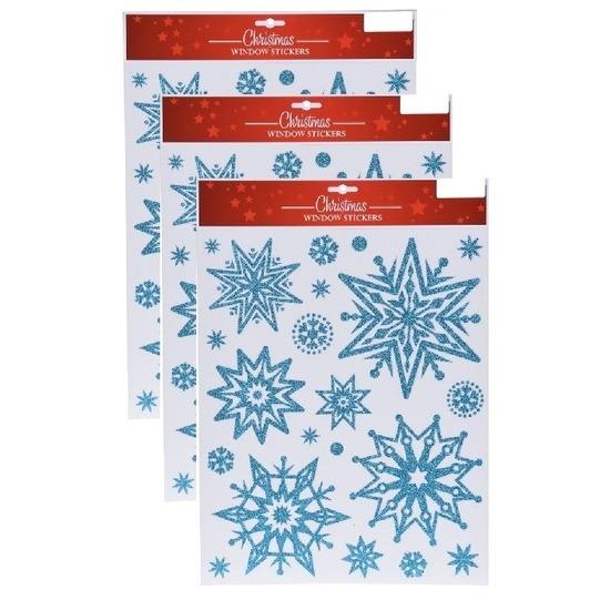 3x Kerst raamstickers-raamdecoratie sneeuwvlok plaatjes