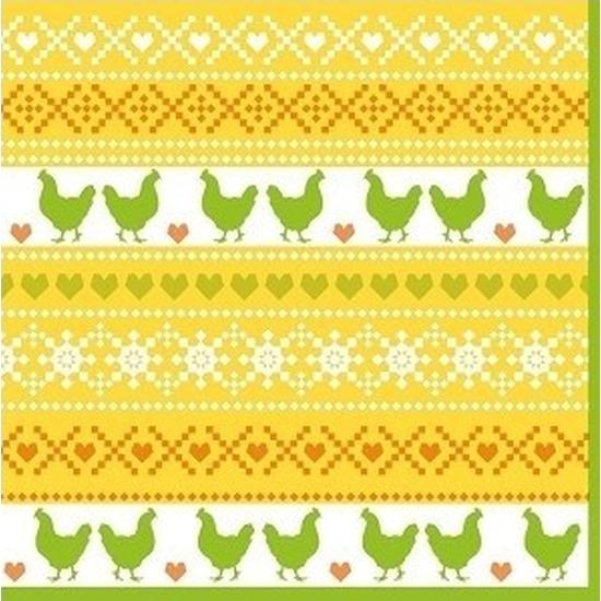 40x Pasen servetten kippen geel-oranje-groen 33 x 33 cm