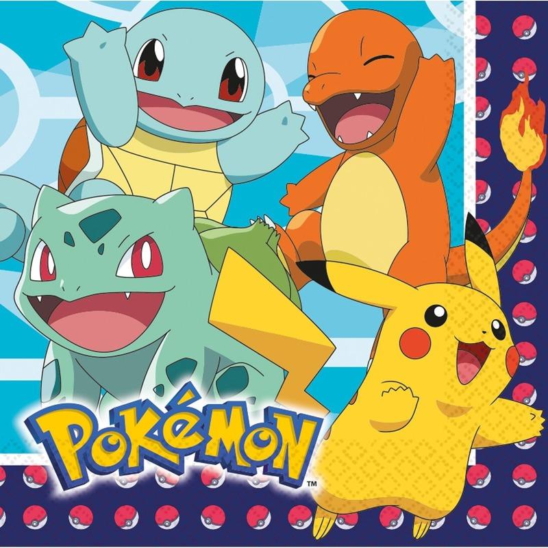 48x Pokemon themafeest servetten 33 x 33 cm
