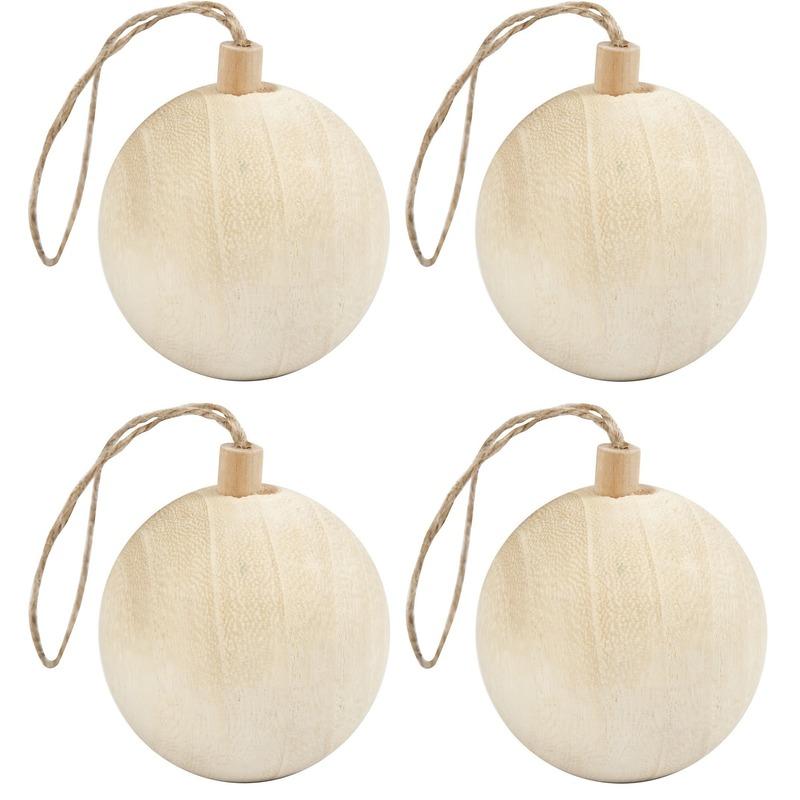 4x Kerstboom decoratie ballen van licht hout 6,4 cm
