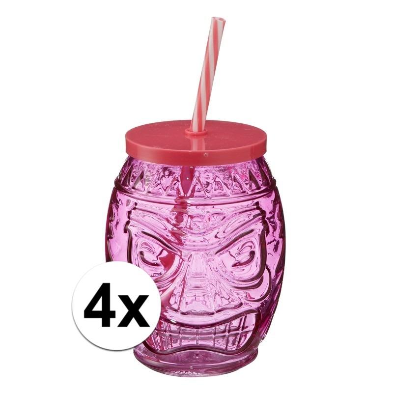 4x Tiki glazen drinkpotje-drinkglas met deksel 550 ml roze