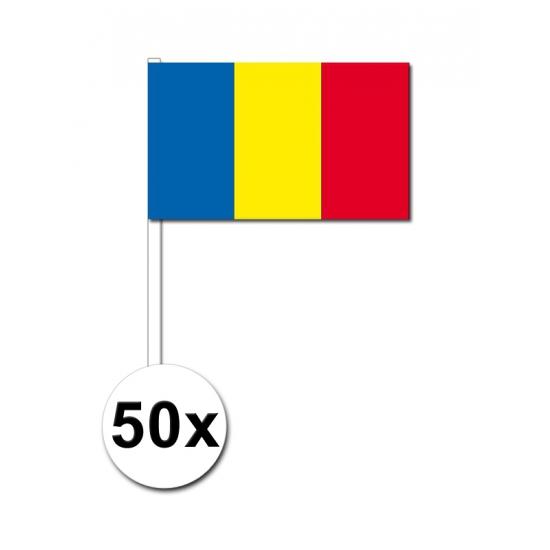 50 handvlaggen Roemenie 12 x 24 cm