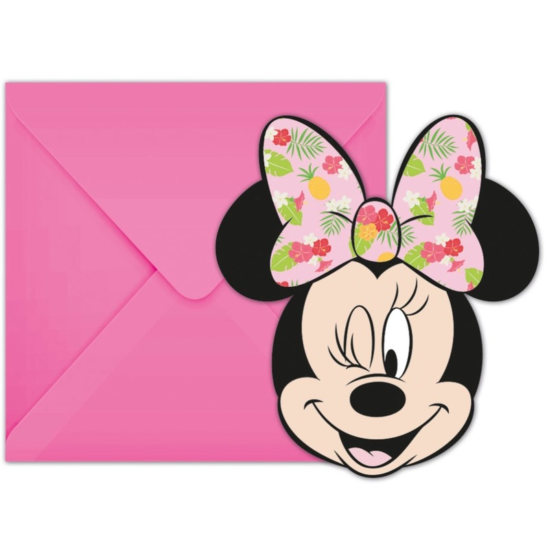 6x Disney Minnie Mouse tropical themafeest uitnodigingen 7 cm