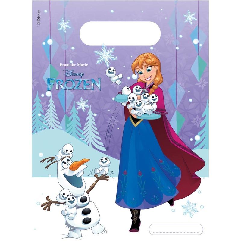 6x Frozen blauw-paars themafeest uitdeelzakjes 16 x 23 cm
