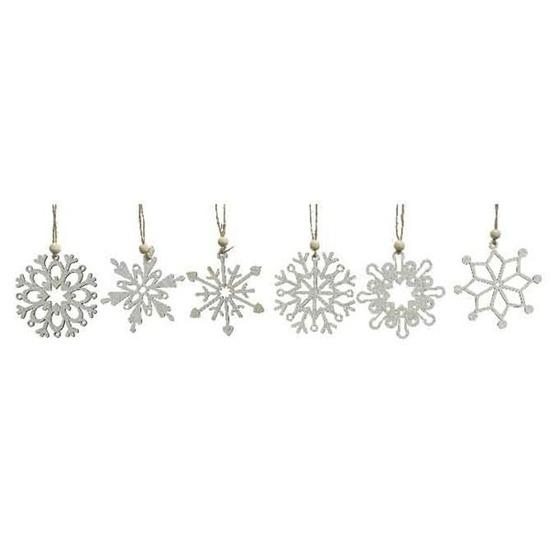 6x Houten sneeuwvlok kersthangers wit 6 cm