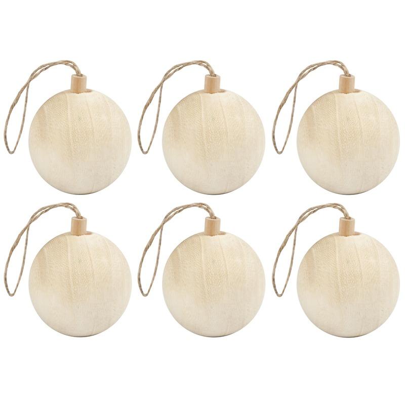 6x Kerstboom decoratie ballen van licht hout 6,4 cm