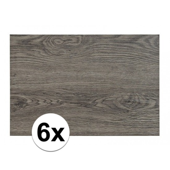 6x Placemats in donkergrijs woodlook print 45 x 30 cm