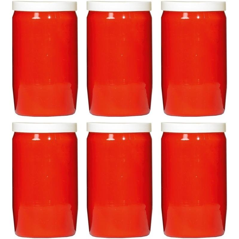 6x Rode grafkaarsen-gedenklichten 6 x 10 cm 3 dagen