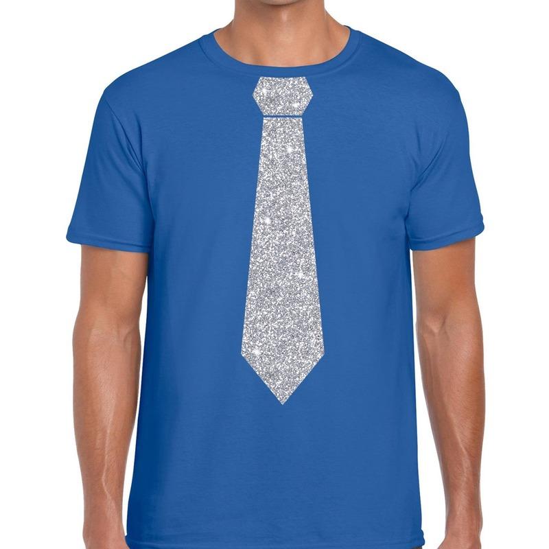 Blauw fun t-shirt met stropdas in glitter zilver heren