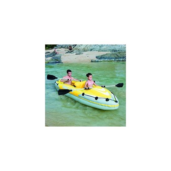 Blauwe opblaasbare kayak