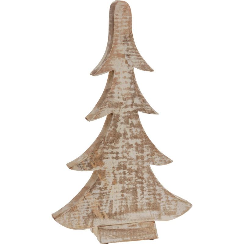 Bruin-witte houten kerstboom 42 cm