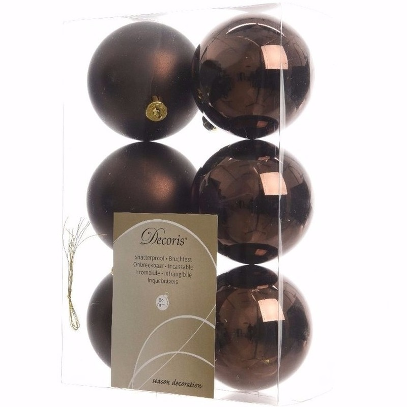 Chique Christmas kerstboom decoratie kerstballen bruin 6 x