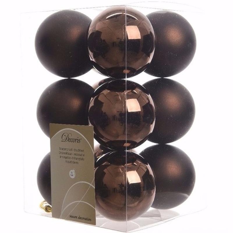 Cosy Christmas kerstboom decoratie kerstballen bruin 12 x