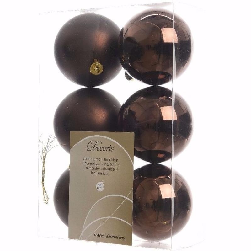 Cosy Christmas kerstboom decoratie kerstballen bruin 6 x