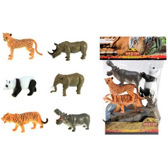 Decoratie safari diertjes 6 stuks