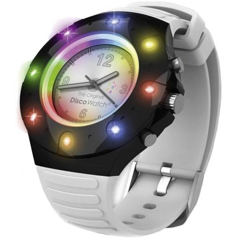Disco horloge voor kinderen/volwassenen wit bandje