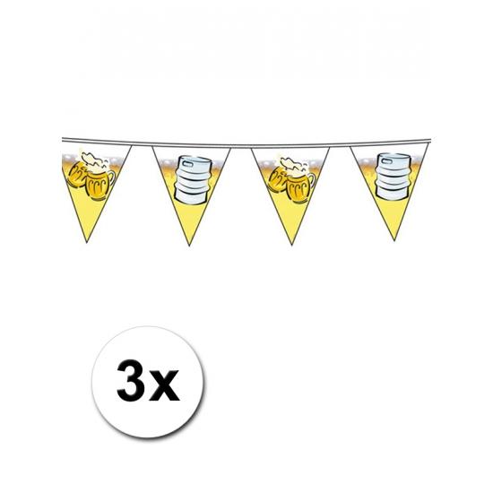 Drie decoratie bier vlaggenlijnen van 10 meter
