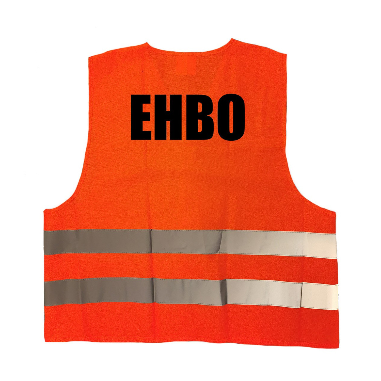 EHBO vestje-hesje oranje met reflecterende strepen voor volwassenen