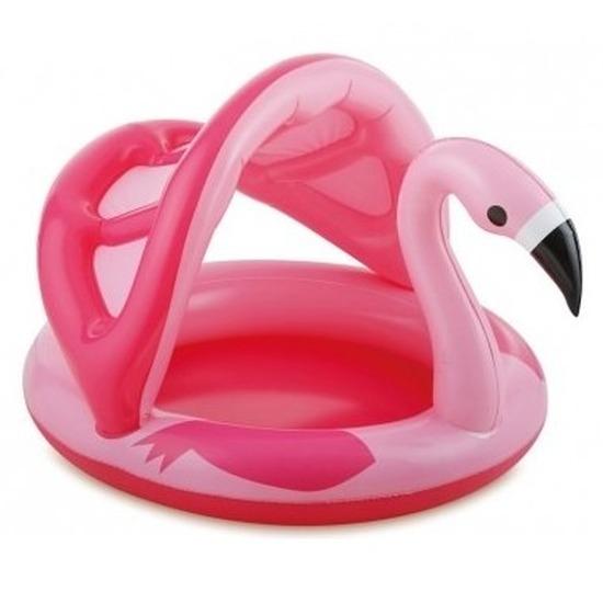 Flamingo zwembad met dakje opblaasbaar 103 cm baby-kinderen