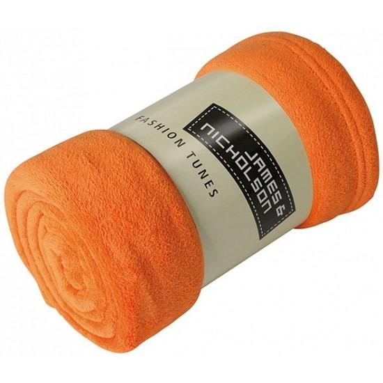 Fleece deken/plaid oranje 120 x 160 cm
