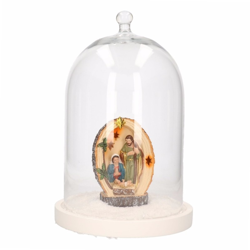 Glazen cloche-stolp met heilige familie beeldje en sneeuw