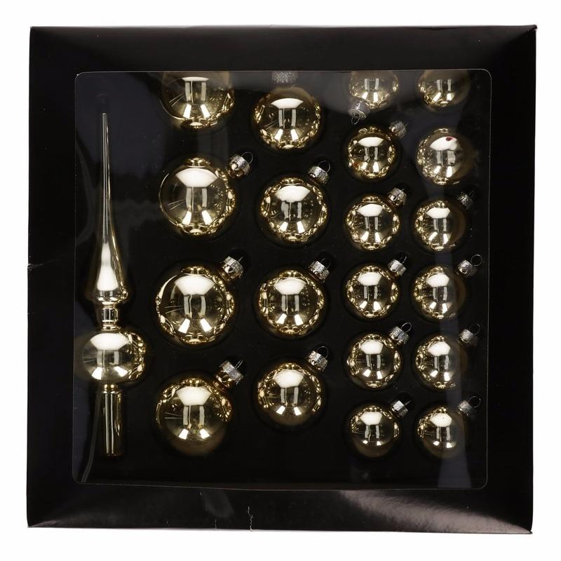Glazen kerstballen goud 21 x