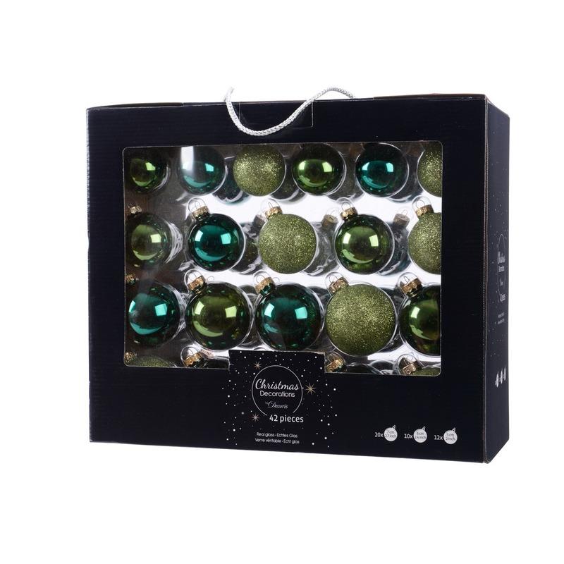 Groene kerstversiering kerstballen set 42 delig van glas