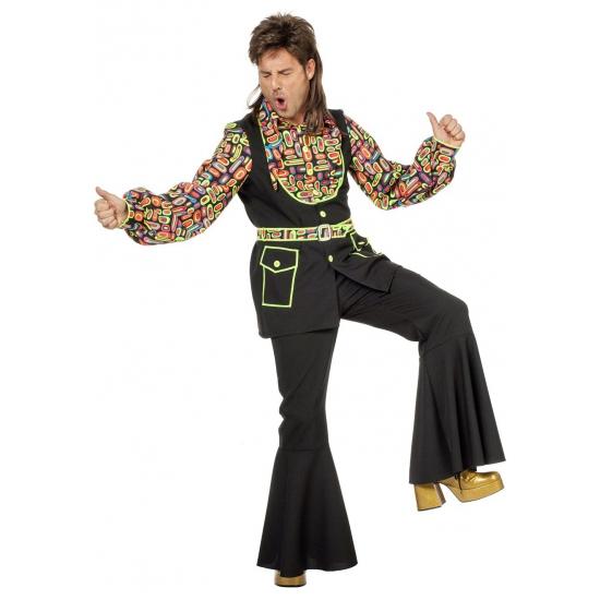 Grote maat gekleurde disco blouse voor heren