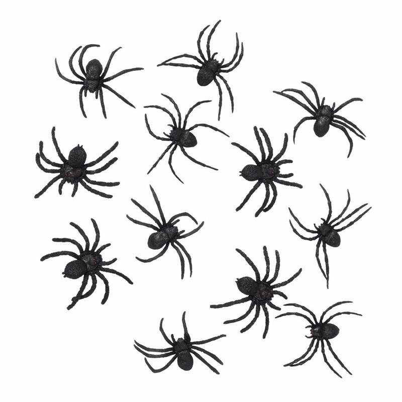 Halloween - 36 zwarte decoratie spinnetjes 8 cm