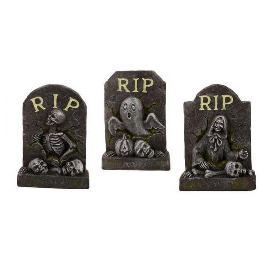 Halloween accessoire stenen grafsteen 14 cm