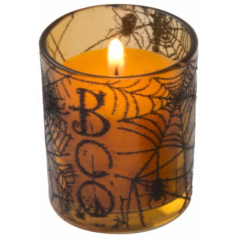 Halloween kaars oranje in glazen houder 6 cm