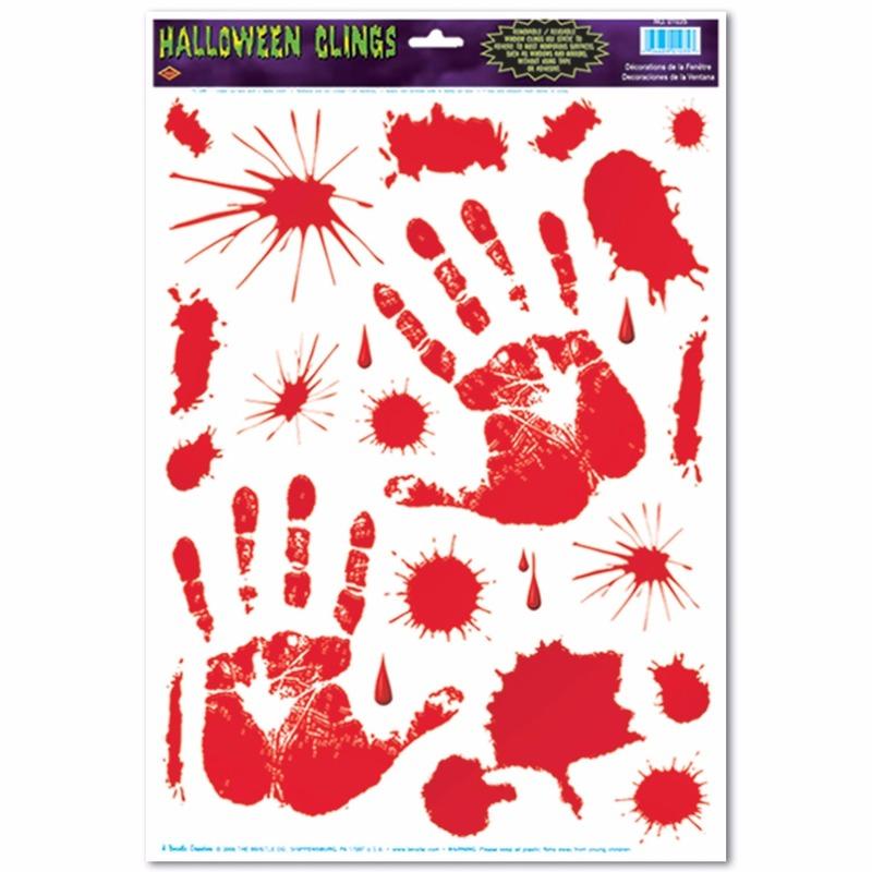 Halloween raamsticker met bloed handen