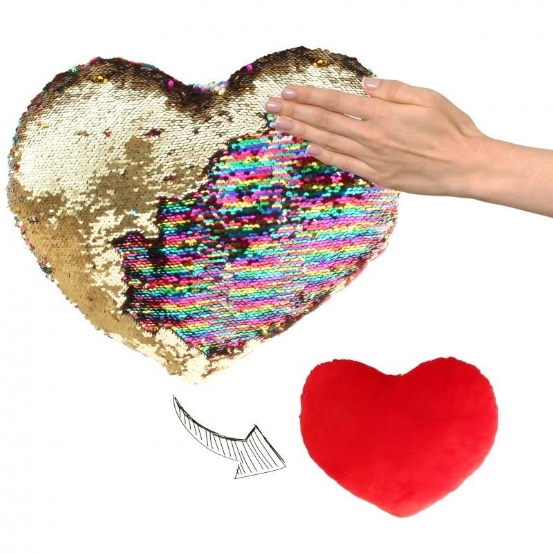 Hartjes kussen goud-rood metallic met pailletten 30 cm
