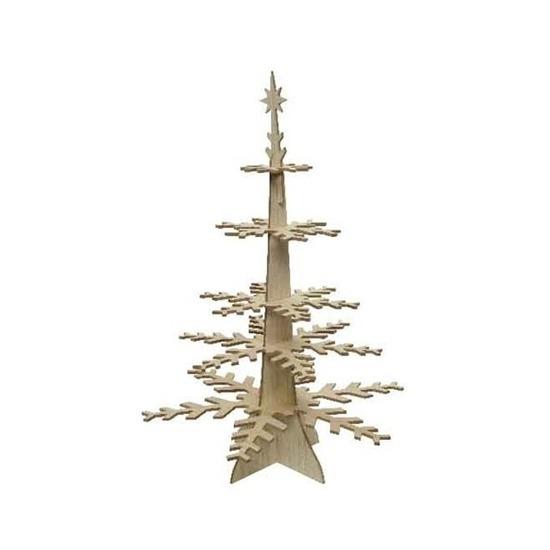 Houten sneeuwvlok tafeldecoratie kerstboom etagere 80 cm