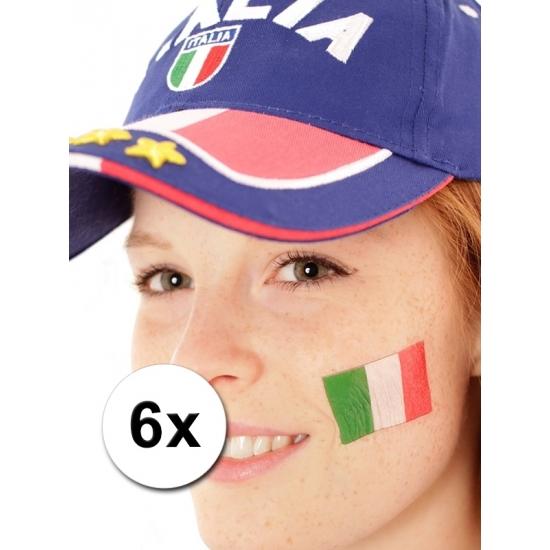 Italie vlag tattoeages 6 st