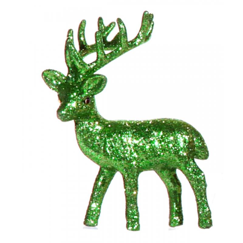 Kerst groene rendier vensterbank versiering 10 cm