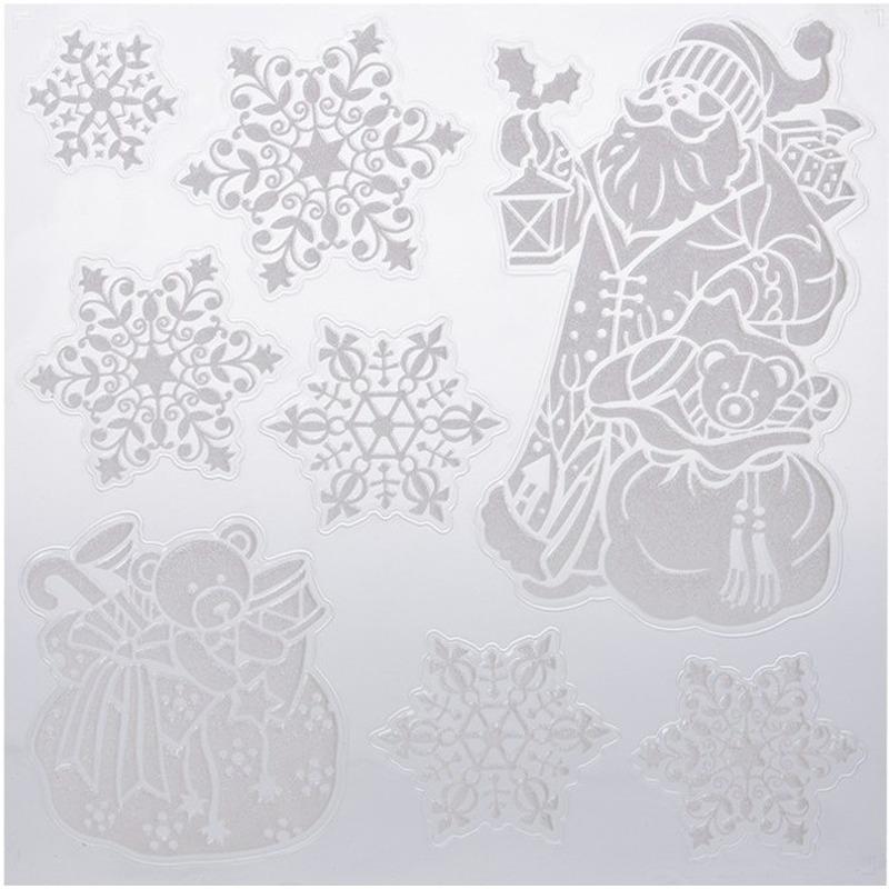 Kerst raamstickers-raamdecoratie Kerstman-sneeuwvlok 31 x 39 cm