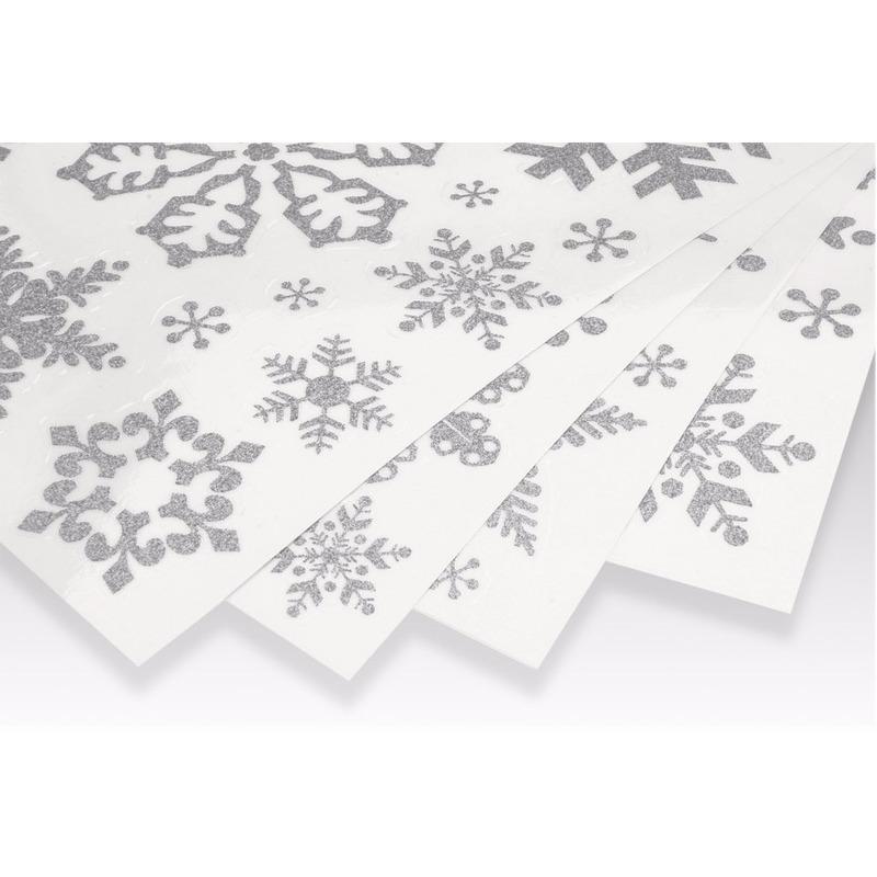 Kerst raamstickers-raamdecoratie sneeuwvlok plaatjes 42 x 30 cm