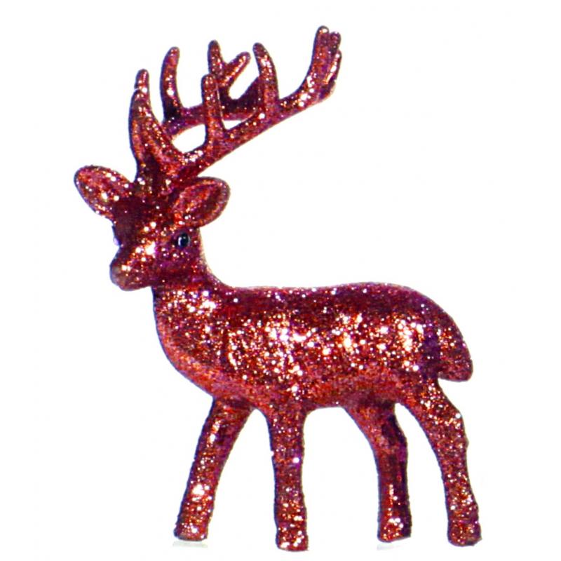 Kerst rode rendier vensterbank versiering 10 cm