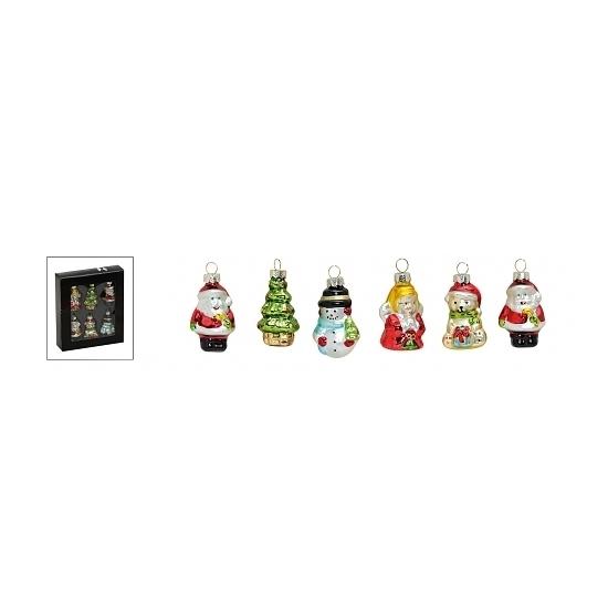 Kerstballen figuren van glas 6 stuks type 2